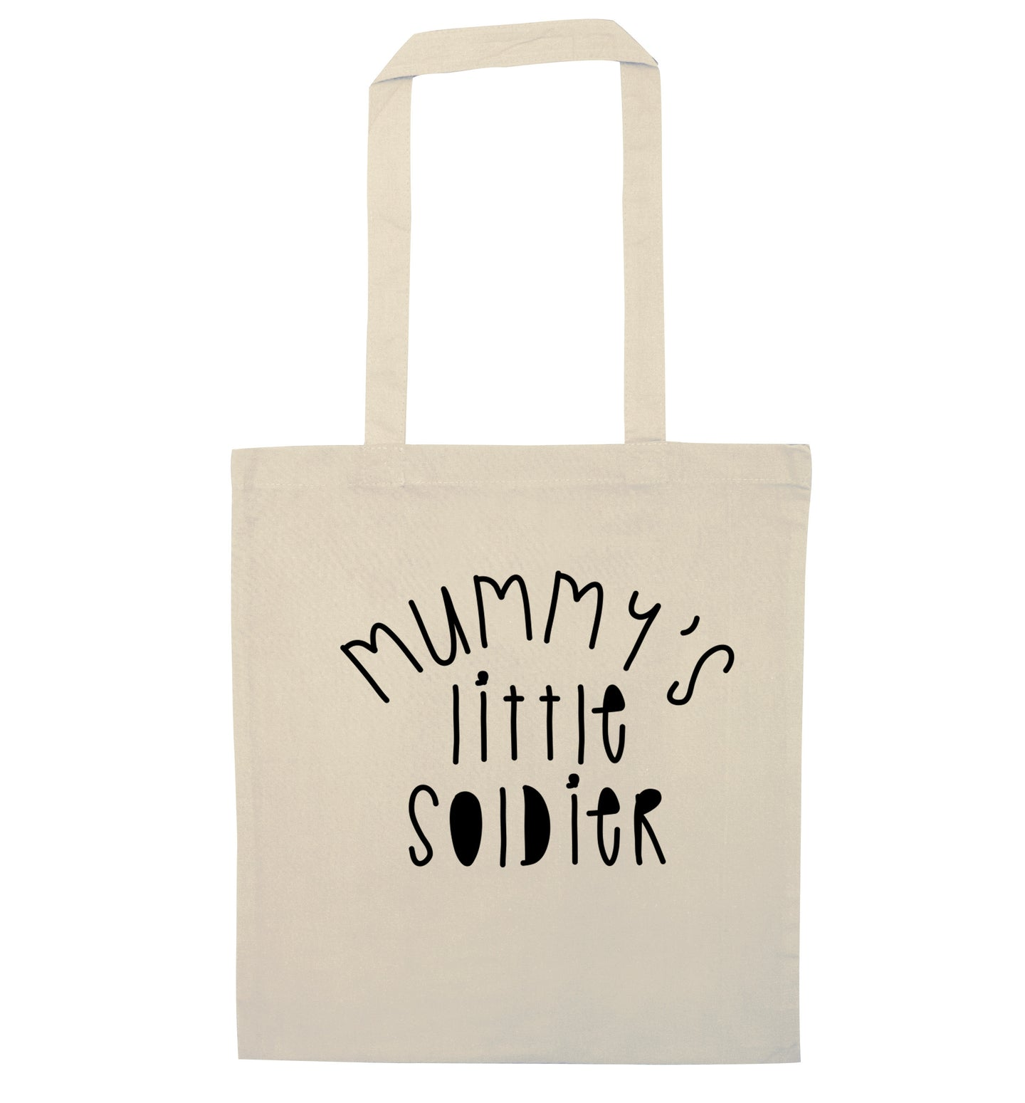 Mummy's little soldier natural tote bag