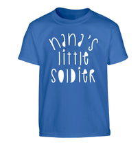Nana's little soldier Children's blue Tshirt 12-14 Years