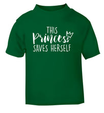 This princess saves herself green Baby Toddler Tshirt 2 Years