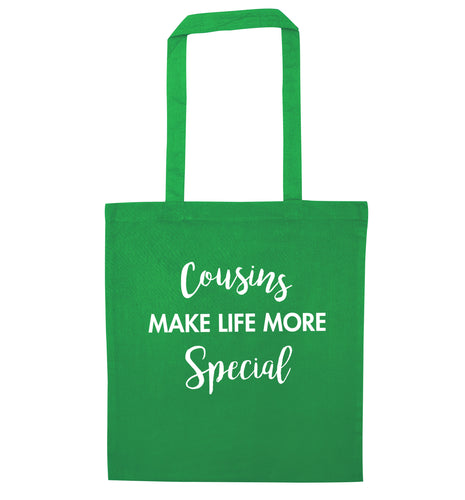 Cousins make life more special green tote bag