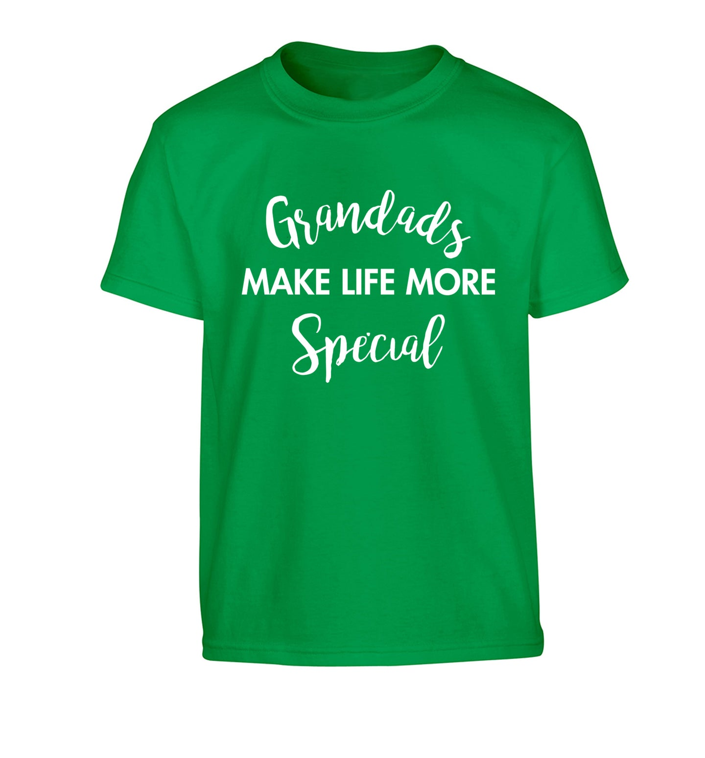 Grandads make life more special Children's green Tshirt 12-14 Years