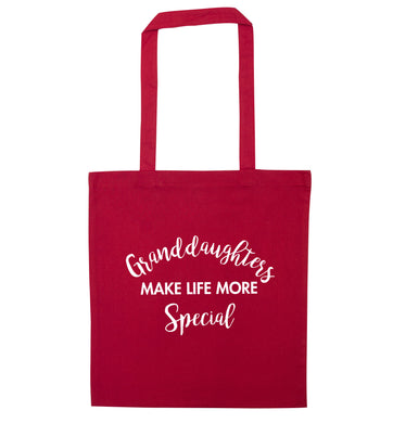 Granddaughters make life more special red tote bag