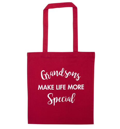 Grandsons make life more special red tote bag