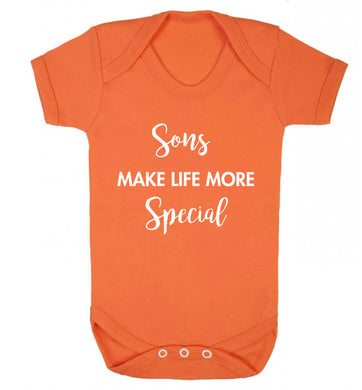 Sons make life more special Baby Vest orange 18-24 months