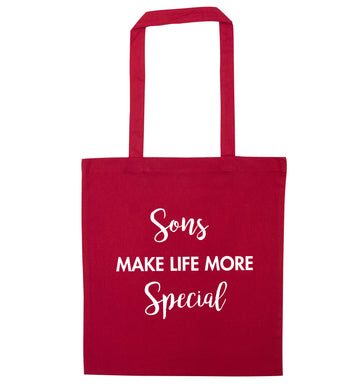 Sons make life more special red tote bag