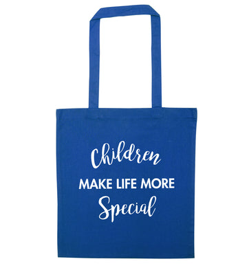 Children make life more special blue tote bag