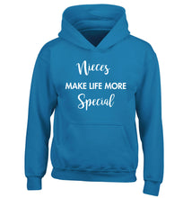 Nieces make life more special children's blue hoodie 12-14 Years