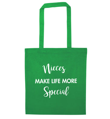 Nieces make life more special green tote bag
