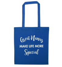Great nanas make life more special blue tote bag