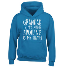 Grandad is my name, spoiling is my game children's blue hoodie 12-14 Years