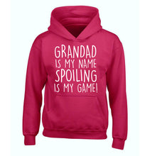 Grandad is my name, spoiling is my game children's pink hoodie 12-14 Years