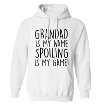 Grandad is my name, spoiling is my game adults unisex white hoodie 2XL
