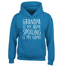 Grandpa is my name, spoiling is my game children's blue hoodie 12-14 Years