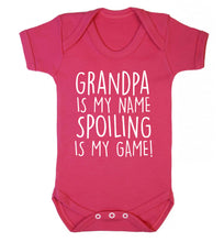 Grandpa is my name, spoiling is my game Baby Vest dark pink 18-24 months