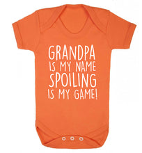 Grandpa is my name, spoiling is my game Baby Vest orange 18-24 months