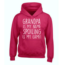 Grandpa is my name, spoiling is my game children's pink hoodie 12-14 Years