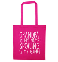 Grandpa is my name, spoiling is my game pink tote bag