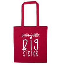Only child big sister red tote bag