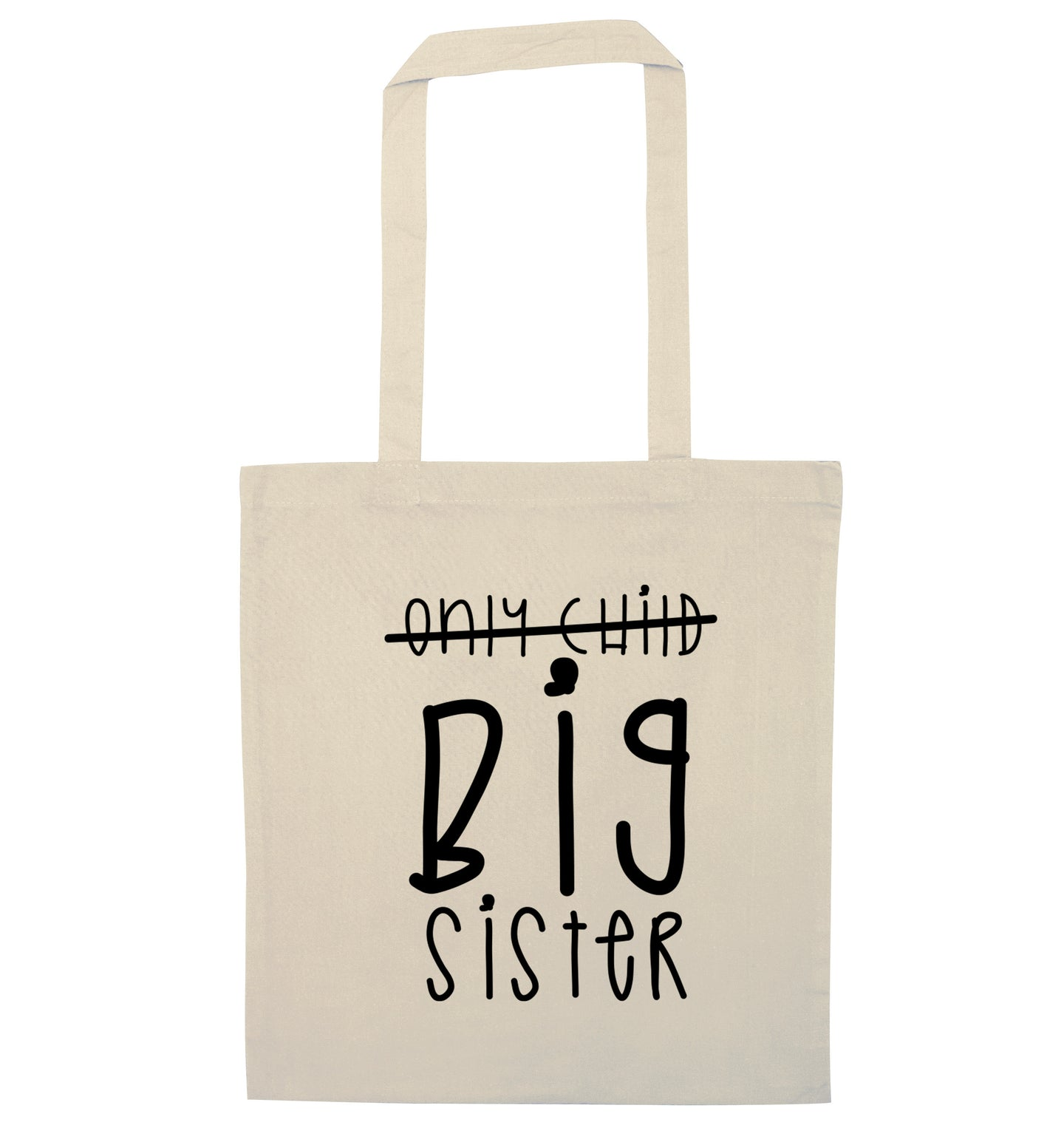 Only child big sister natural tote bag