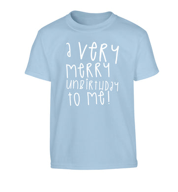 A very merry unbirthday to me! Children's light blue Tshirt 12-14 Years