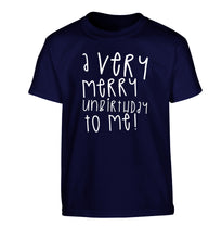 A very merry unbirthday to me! Children's navy Tshirt 12-14 Years