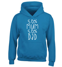 50% mum 50% dad children's blue hoodie 12-14 Years