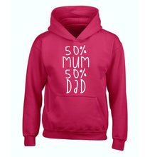 50% mum 50% dad children's pink hoodie 12-14 Years