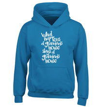 What happens at grandads house stays at grandads house children's blue hoodie 12-14 Years