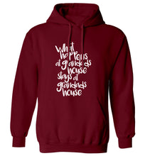 What happens at grandads house stays at grandads house adults unisex maroon hoodie 2XL