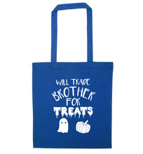 Will trade brother for treats blue tote bag