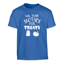 Will trade brother for treats Children's blue Tshirt 12-14 Years