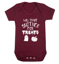 Will trade brother for treats Baby Vest maroon 18-24 months