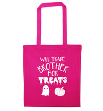 Will trade brother for treats pink tote bag