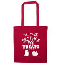Will trade brother for treats red tote bag