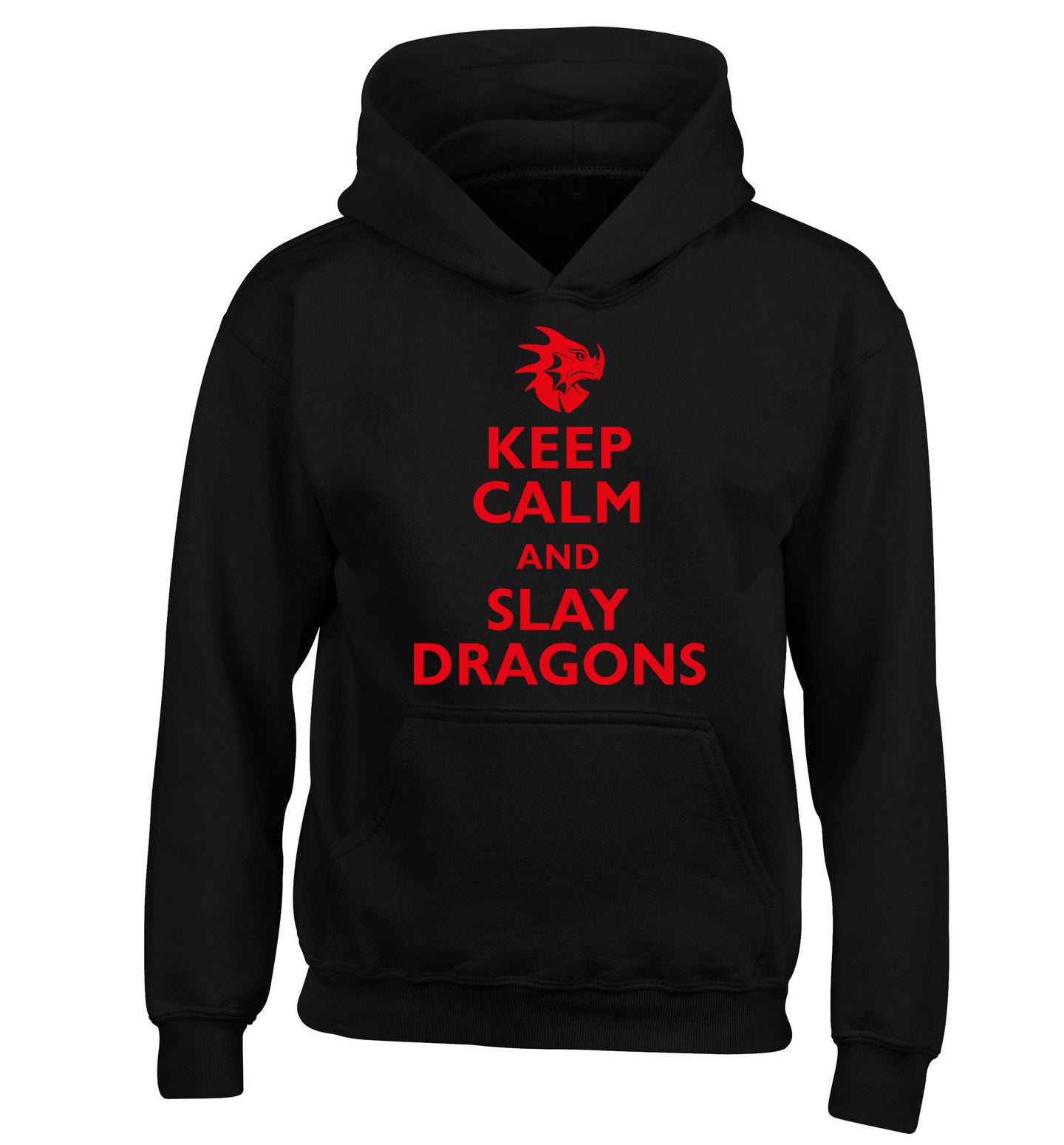 Keep calm and slay dragons children's black hoodie 12-14 Years