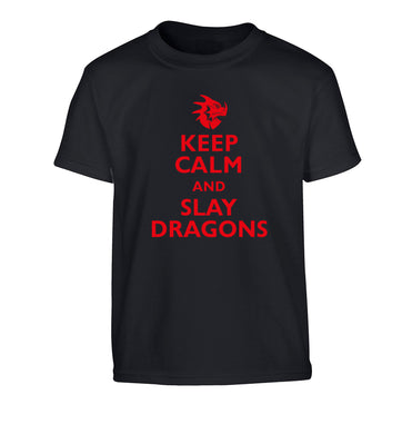 Keep calm and slay dragons Children's black Tshirt 12-14 Years