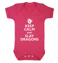 Keep calm and slay dragons Baby Vest dark pink 18-24 months