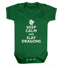 Keep calm and slay dragons Baby Vest green 18-24 months
