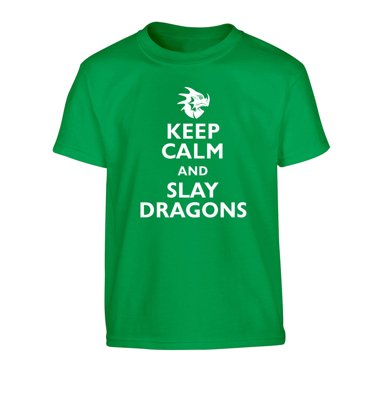 Keep calm and slay dragons Children's green Tshirt 12-14 Years