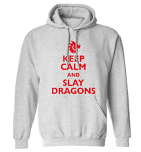 Keep calm and slay dragons adults unisex grey hoodie 2XL