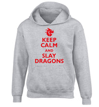 Keep calm and slay dragons children's grey hoodie 12-14 Years