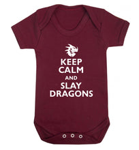 Keep calm and slay dragons Baby Vest maroon 18-24 months
