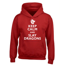 Keep calm and slay dragons children's red hoodie 12-14 Years