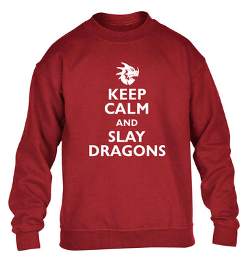 Keep calm and slay dragons children's grey sweater 12-14 Years