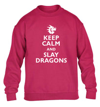 Keep calm and slay dragons children's pink sweater 12-14 Years