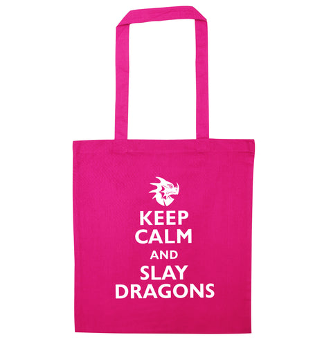 Keep calm and slay dragons pink tote bag