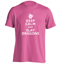 Keep calm and slay dragons adults unisex pink Tshirt 2XL
