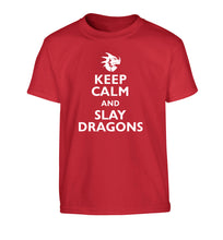 Keep calm and slay dragons Children's red Tshirt 12-14 Years