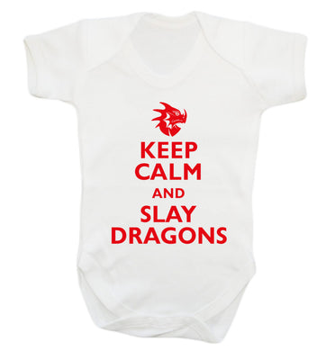 Keep calm and slay dragons Baby Vest white 18-24 months