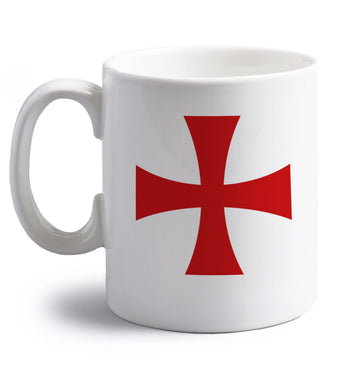 Knights Templar cross right handed white ceramic mug